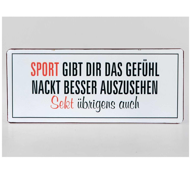 """/""""Sport gibt dir das Gefühl nackt.../"""" Wandbild Metallschild"""